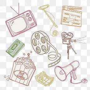 Hand Drawn Retro Film Symbols - Film Clapperboard PNG