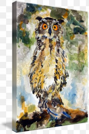 Great Horned Owl - Great Horned Owl Watercolor Painting Gallery Wrap PNG