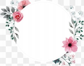 Hand Painted Watercolor Retro Rose Label - Picture Frame Flower Wallpaper PNG