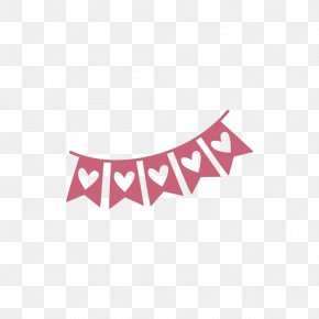 Pink Flag - Silhouette Right Border Of Heart Stencil PNG
