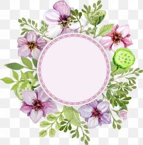 Delicate Watercolor Flowers Label Leaves - Flower Watercolor Painting Label PNG