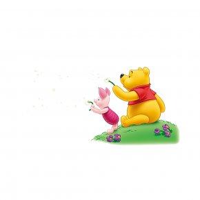 Winnie The Pooh And Flying Dandelion - Cartoon Winnie The Pooh Pixel PNG