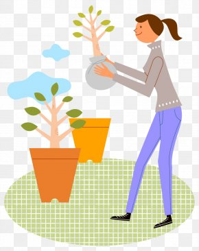 Take The Flower Pot Of The Woman - Clip Art PNG