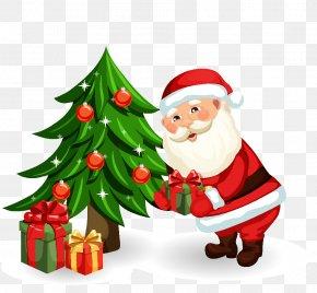 Cartoon Santa Claus - Santa Claus Christmas Tree PNG