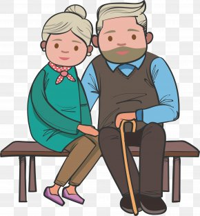 The Old Couple Sitting On The Bench - Bench Old Age Grandparent PNG