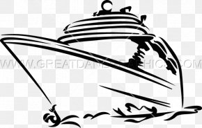 Cruise Ship - Black And White Cruise Ship Ocean Liner Clip Art PNG