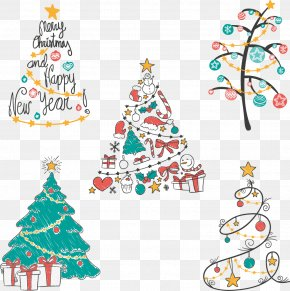 Vector Hand-painted Christmas Tree - Christmas Tree Euclidean Vector Drawing PNG