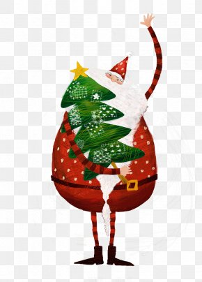 Santa Claus Holding A Christmas Tree - Santa Claus Christmas Tree Gift PNG
