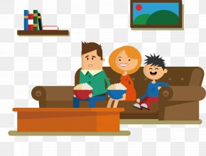 A Person Watching TV - Couch Sitting Drawing Cartoon PNG