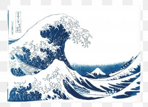 Watercolor Vast - The Great Wave Off Kanagawa Thirty-six Views Of Mount Fuji National Gallery Of Victoria Art PNG