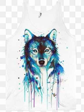 Painting - Gray Wolf Watercolor Painting Drawing African Wild Dog PNG