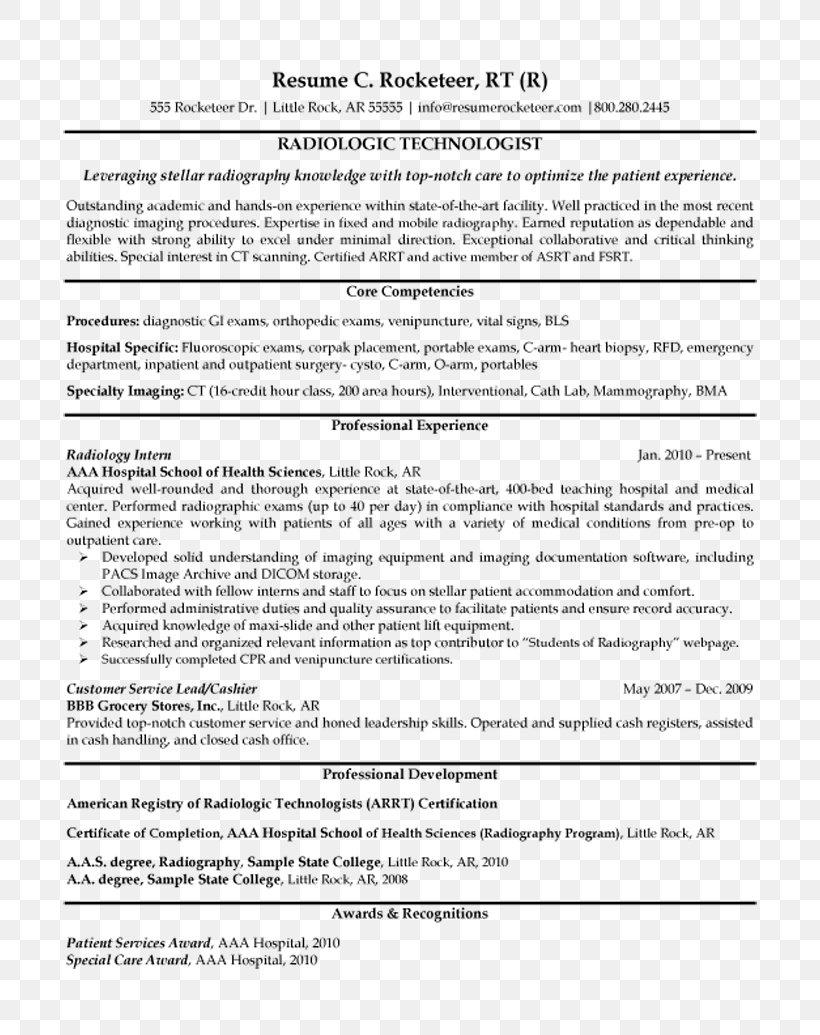 radiologic technologist cover letter sample