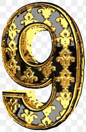 Elegant Vintage Number Nine Clip Art Image - Number Four Clip Art PNG