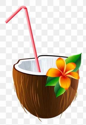 Exotic Coconut Cocktail Clipart Image - Cocktail Blue Hawaii Piña Colada Margarita Coconut Water PNG
