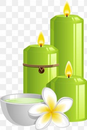 Vector Green Candles And Frangipani - Spa Illustration PNG