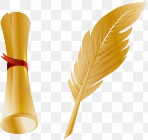 Vector Hand Painted Gold Quill Pen - Paper Quill Pen Feather PNG