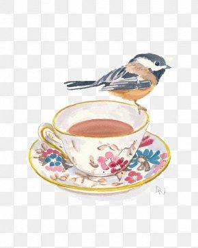 Black Tea - Teacup Coffee Watercolor Painting PNG