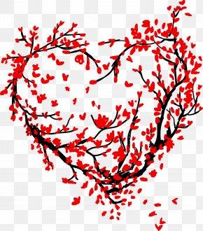 Red Love Sakura Tree - Tree Heart Love PNG