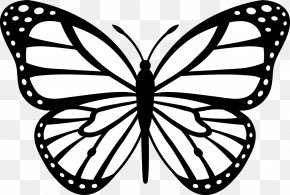 Black And White Cartoon - Monarch Butterfly Insect Black And White Clip Art PNG