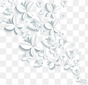 3d Three-dimensional Flower - Butterfly Paper Wallpaper PNG