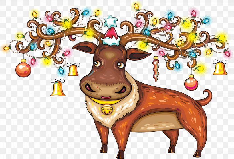 Reindeer Santa Claus Ded Moroz New Year, PNG, 4431x3022px, Deer, Antler, Art, Carnivoran, Cartoon Download Free
