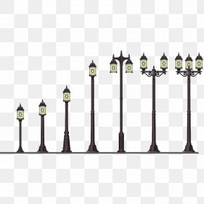 A Row Of Street Lights - Street Light Lantern Lighting PNG