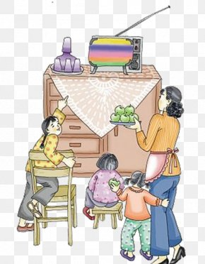 80 Years A Family Watching TV - Television Illustration PNG