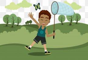Boys Catch Butterflies - Butterfly Euclidean Vector PNG