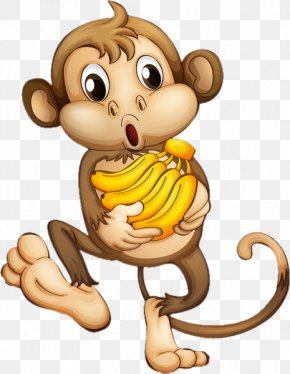 BANANA Monkey - Cartoon Monkey Clip Art PNG