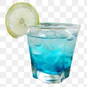 Lemon Slice Of Blue Curacao Soda - Blue Hawaii Vodka Tonic Soft Drink Cocktail Juice PNG