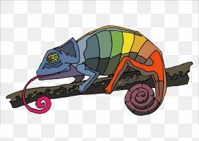 Hand-painted Chameleon - Chameleons Lizard Panther Chameleon Reptile Clip Art PNG