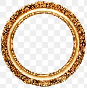 Golden Round Frame Transparent - Picture Frame Mirror Circle Gold Leaf PNG