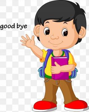 Vector Kids Wave Goodbye - Stock Illustration School Clip Art PNG