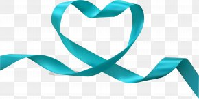 Vector Hand-painted Blue Ribbon - Heart With Ribbon Clip Art PNG