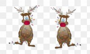 Vector Christmas Cartoon Deer - Reindeer Christmas PNG