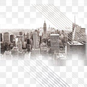 City - Empire State Building Manhattan Skyline Wallpaper PNG
