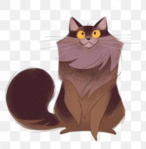 Cartoon Long Hair Kitten - Maine Coon Selkirk Rex Kitten Drawing Illustration PNG