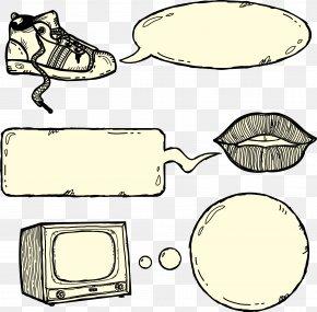 Sketch Shoes Lips TV And Dialogs - Speech Balloon Cartoon Drawing Shoe PNG