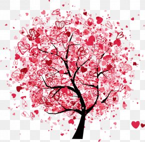 Vector Red Love Trees - Drawing Photography Illustration PNG