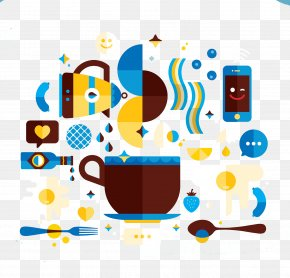 Flat And Coffee Cup Kettle - Cafe Coffee Cup Illustration PNG