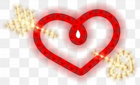 Heart With Arrow Glowing Heart Clipart Image - Red Love Heart PNG