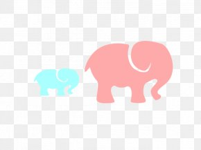 Baby Mother And Baby Rabbit - Clip Art Mother Elephant PNG