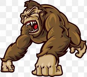 Cartoon Gorilla - Western Gorilla Ape Orangutan Clip Art PNG