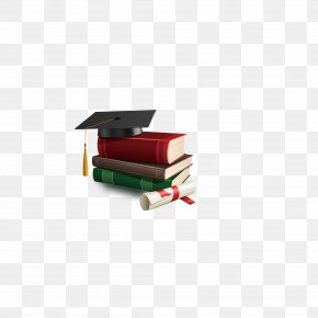 Dr. Cap Decorated Books - Square Academic Cap Graduation Ceremony Diploma Clip Art PNG