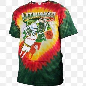 T-shirt - T-shirt Lithuania Men's National Basketball Team Tie-dye Slipper PNG