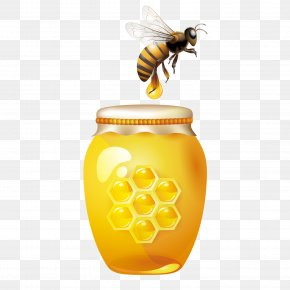 Honey Bee Hive - Bee Honey Jar Clip Art PNG