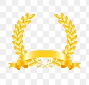 Gold Ribbon - Laurel Wreath Stock Photography Clip Art PNG