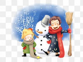 His Son And Two Snowman - Vacation Gmina Dolsk Play Winter Child PNG
