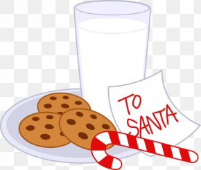 Cliparts Cookie Platter - Chocolate Milk Chocolate Chip Cookie Candy Cane Santa Claus PNG