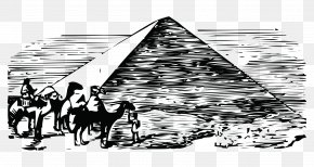 Hand-painted Black And White Prints Pyramid Camel Character - Egyptian Pyramids Black And White Ancient Egypt PNG